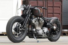 Classic Bobber Motorcycle with Springer Front End, Flat Handlebars and Suicide…