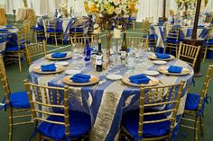gold and royal blue decorations | Grecian Inspired Wedding - Wedding Flowers & Centerpieces | Floral ...
