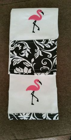 Set of 2 Tropical Pink Flamingo Hand Towel Dishtowel Black and White Design #Nantucket