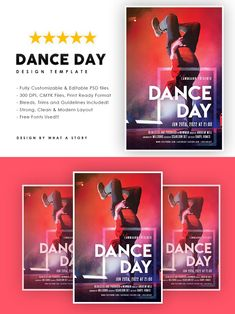 Dancing Day, Party Flyer, Your Image, Photoshop, Layout, Dance, Templates, Free, Color
