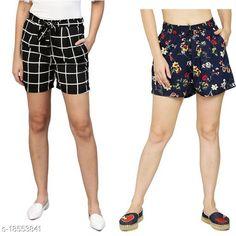 Shorts My Swag Women Combo Of 2  Regular Shorts Fabric: Crepe Pattern: Printed Multipack: 2 Sizes:  28 (Waist Size: 28 in Length Size: 25 in)  30 (Waist Size: 30 in Length Size: 25 in)  32 (Waist Size: 32 in Length Size: 25 in)  34 (Waist Size: 34 in Length Size: 25 in)  36 (Waist Size: 36 in Length Size: 25 in)  38 (Waist Size: 38 in Length Size: 25 in) Country of Origin: India Sizes Available: 24, 26, 28, 30, 32, 34, 36, 38, 40, 42   Catalog Rating: ★3.9 (2333)  Catalog Name: Ravishing Fabulous Women Shorts CatalogID_1291853 C79-SC1038 Code: 492-18553841-786