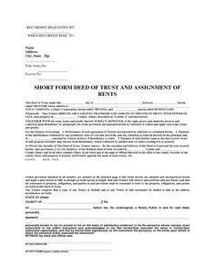 Deed of trust with assignment of rents