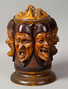Carved jester face humidor.
