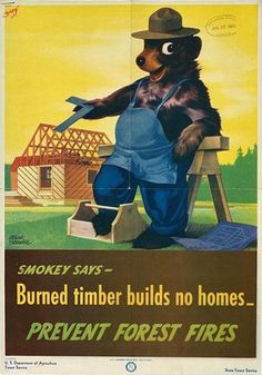 Smokey says-- burned timber builds no homes : prevent forest fires.  Smokey the Bear holds a T-square, leans against a sawhorse, and points to the wooden frame of a house under construction.    Forest conservation -- United States -- Posters. / World War, 1939-1945 -- Economic aspects -- United States -- Posters. / War posters, American.    United States. Forest Service.