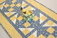 Quilted Summer Table Runner Yellow Denim Blue Flowers