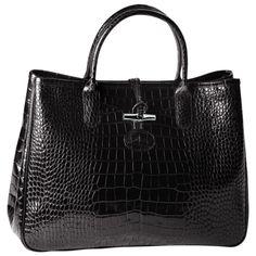 Sac Longchamp, Roseau Croco Noir