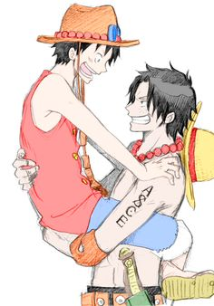 Ace and Luffy by ElOnePiece on DeviantArt One Piece Anime, One Piece Ep, One Piece World, Zoro One Piece, One Piece Comic, One Piece Fanart, Ace Sabo Luffy, The Pirate King, Monkey D Luffy