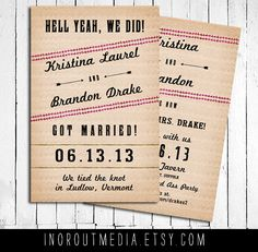 Wedding Announcements   Eloped We did we said I do by inoroutmedia, $60.00