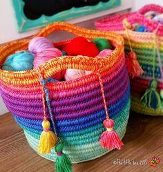 Easy Crochet Rainbow Basket Free Pattern   The WHOot