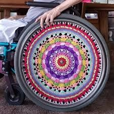 Image result for wheelchair wheel covers made from crochet Wheel Cover, Beach Mat, Outdoor Blanket, Chair, Crochet, Image, Burlap Table Runners, Ganchillo, Stool