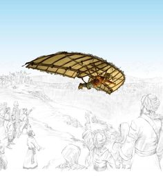 This is a picture of Abbas Ibn Firnas and his glider. Records state that Abbas' flight took place around 875 AD. His glider was a structure made of wooden beams and covered with feathers. Though extremely primitive his glider is the first documented flight of its kind.   ~Channing Brooks