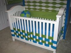 Weaving ribbon through crib rails instead of using a crib skirt! by adrian