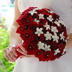 red rose wedding bouquet with stephanotis blooms studded with pearls Elegant Wedding, Perfect Wedding, Dream Wedding, Wedding Day, Red Bouquet Wedding, Red Wedding Flowers, White Flowers, Bridal Bouquets, Romantic Flowers