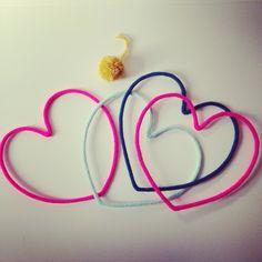 Mots enlainés, tricotin, laine, prénom en laine, cœur enlainé, cœur en laine, mot en laine,  heart, cœur, charlie&june