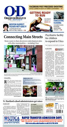 The front page for Thursday, July 11, 2013: Connecting Main Streets