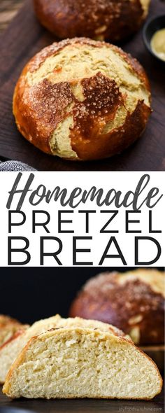 The BEST Homemade Pretzel Bread recipe ever. Seriously, once you make this you will never be able to eat store-bought pretzel bread again! It's dense, soft, chewy, buttery, salty and oh-so-delicious. We've included a video with step-by-step instructions! #pretzelbread #homemade #recipe #bread #recipevideo via @joyfoodsunshine