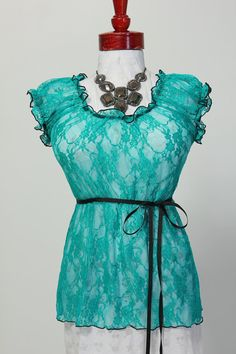 Size Large Teal Lace Blouse  Fits Bust by damselinthisdress