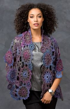 Free Crochet Pattern, Circular Motif Shawl by Red Heart.