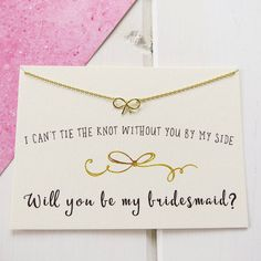 'Will You Be My Bridemaid?' Gold Bow Necklace