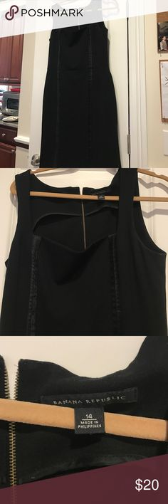 Banana republic black dress. Used once .14. Nice pointe dress with zip detail in back wothbsateeen trim. Excellent condition like new. Banana Republic Dresses
