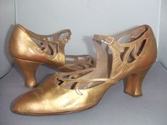 1920's shoes, gold kid with diamonte buckles. Debenham & Freebody, Wigmore Street, London.