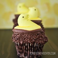 Chocolate Marshmallow Cupcakes with yellow Peeps