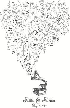 Guestbook Alternative: Thumbprint Music Notes