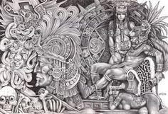 Mexican Aztec Art   Aztec Dream by Mouse Lopez Mexican Indians Black White Canvas Art