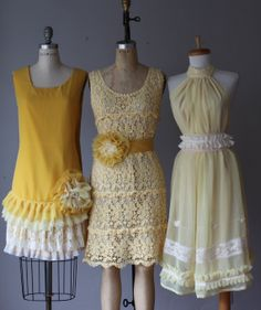Set of 3  GoGo  party mismatched bridesmaid dresses ,wedding summer dress ,lace tan vintage inspired dresses ,Ready for shipping on Etsy, $356.99 AUD