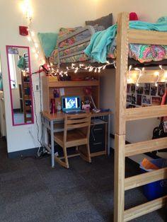 Dorm ideas, loft bed dorm, cute dorm rooms, college dorm rooms, c Dorm Room Storage, Dorm Room Organization, Organization Ideas, Storage Ideas, Lofted Dorm Beds, Loft Beds, Dorm Lighting, Small Apartment Bedrooms, Dorm Room Designs