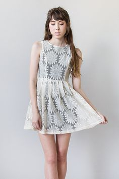 vintage inspired daisy lace mini dress
