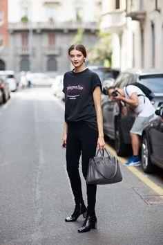 runwayandbeauty:  Diana Moldovan outside Dolce & Gabbana Spring 2015, Milano. Source: stockholm streetstyle