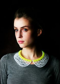 Drika Collar- Laser Cut Acrylic/Wood Necklace with Sterling Silver Chain. $80.00, via Etsy.