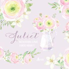 Juliet Watercolour Bouquets: Digital Clipart. Hand by OctopusArtis