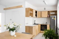 Photo number 6 in the gallery - Bright apartment in Katowice Kitchen Staging, Plywood Interior, Bright Apartment, Interior Design Inspiration, Home Kitchens, Small Spaces, Architecture Design, Kitchen Design, Sweet Home