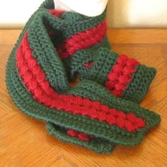 Red and Green Scarf with Textured Red Clusters on Pine Green - 63 inches Long - and - Soft and Warm for #Winter - Crocheted in Caron Simply Soft - #Handmade Accessory by @rssdesignsfiber of RSS Designs In Fiber on #Artfire