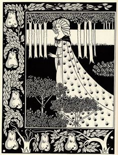 The Beale Isoud at Joyous Gard by Aubrey Beardsley (part one of two illustrations).