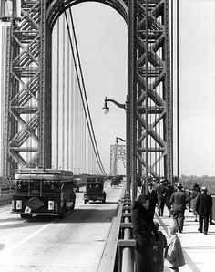 The George Washington Bridge. Photo from the New York State Archives. New York City Pictures, Washington Heights, New Amsterdam, Bergen County, Vintage New York, New Paris, George Washington Bridge, History Photos, Historical Pictures