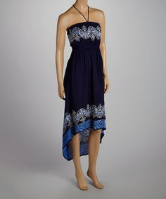 This Blue & Navy Scarf Print Hi-Low Halter Dress by India Batik is perfect! #zulilyfinds
