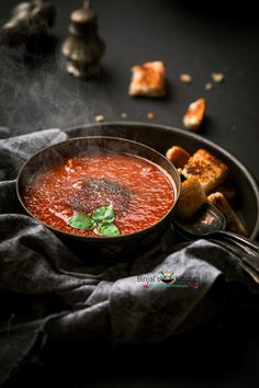 Vegan Tomato Basil Soup Recipe - Binjal's VEG Kitchen