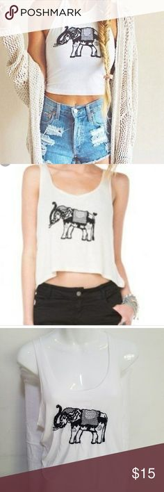 Brandy Melville John Galt Elephant Cropped Tank Brandy Melville John Galt Elephant Cropped Tank one size. Low hang arms. Brandy Melville Tops Tank Tops