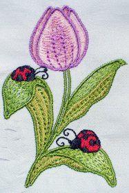 Tulip machine embroidery design