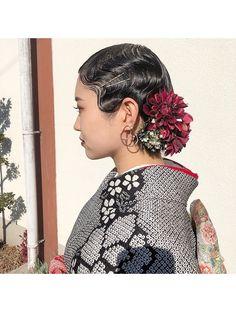 成人式hair*フィンガーウェーブ:L025535977|レベッカ(REBECCA by CURACION)のヘアカタログ|ホットペッパービューティー Updo Styles, Long Hair Styles, Hair Arrange, Hair Setting, Christmas Hair, Roller Set, Japanese Outfits, Japanese Kimono, Perm