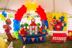 Sesame Street birthday party dessert table! See more party ideas at CatchMyParty.com!