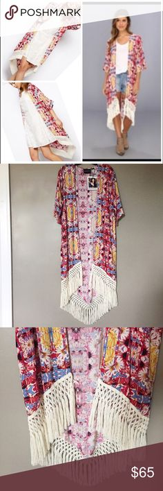 "MINKPINK Garden Fringe Kimono Brand new with tags // short sleeve floral kimono // perfect way to pretty up a white tank and some high waisted shorts!! No trades // size ""XS/S"" MINKPINK Tops"