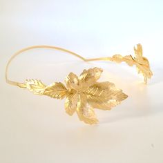 Greek Goddess big gold maple leaves hair bow Available both in gold and silver.