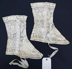 Cotton lace spats 1900-1925
