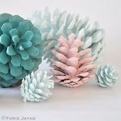 Pastel pinecones by Torie Jayne. Different colors for the Christmas tree and you have cheap, hard to break ornaments.
