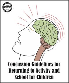 Concussion Guidelines for Returning to Activity and School for Children   Your Therapy Source. Pinned by SOS Inc. Resources. Follow all our boards at pinterest.com/sostherapy/ for therapy resources.