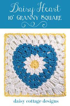 Granny Heart Crochet Pattern {Daisy in the Center} - Daisy Cottage Designs